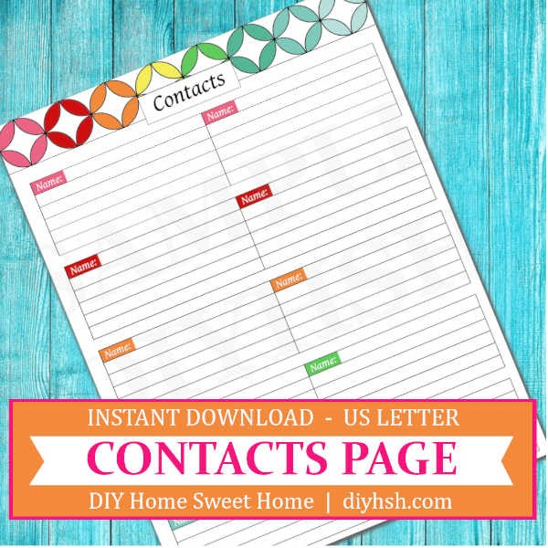 Contacts List Free Printable For Home Management Binder Or Planner Diy Home Sweet Home